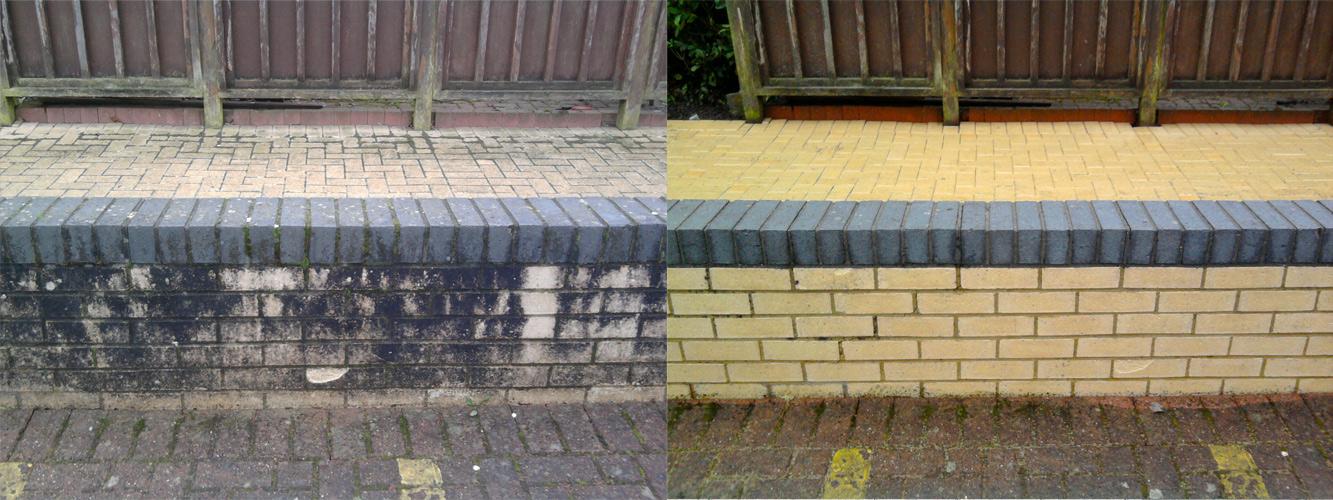 Jetwashing brick walls in Surrey