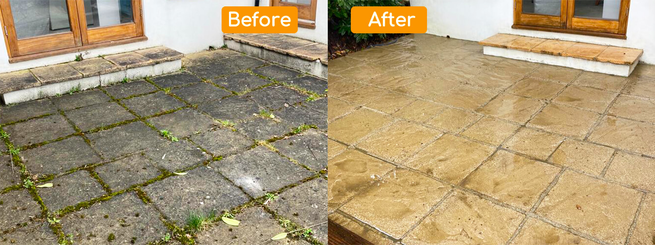 Back garden patio power washed in Carshalton