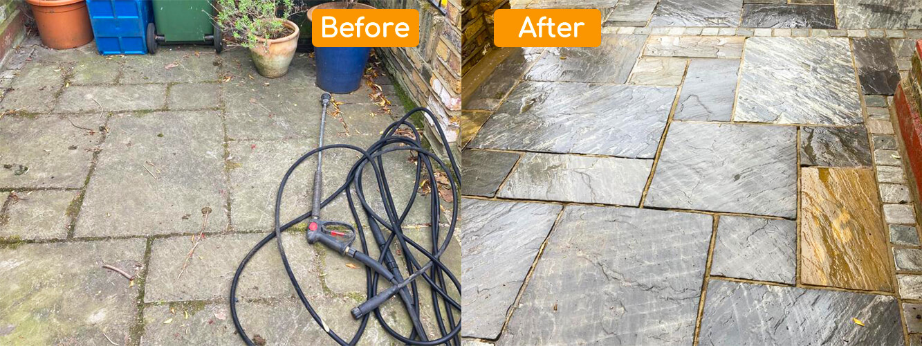 Before After Patio Clean in Cheam