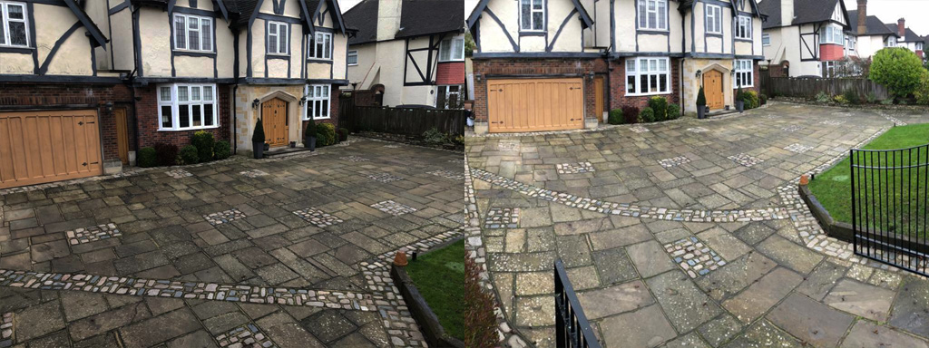 Crazy paving cleaning before and after in Surrey