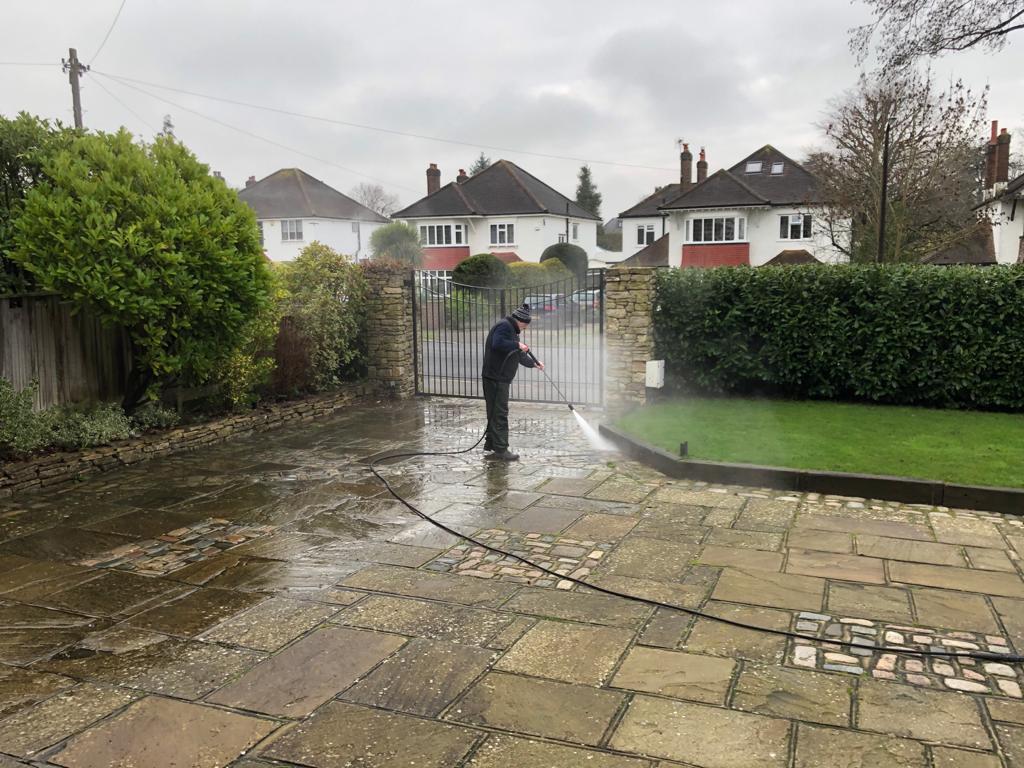 Driveway paving jet washing in Surrey