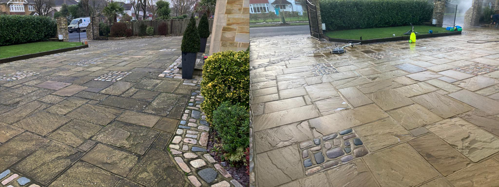 Front driveway jet wash cleaning in Surrey