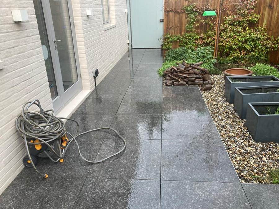 Rear patio cleaning with jetwashing in Surrey